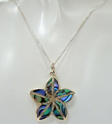 Fine vintage sterling silver & abalone flower pendant + sterling silver chain