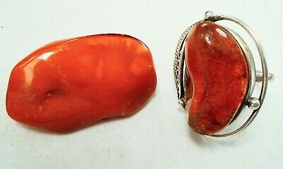 Stunning very large vintage silver metal & amber ring + amber brooch