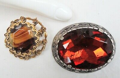 Large vintage Scottish silver metal & amber glass brooch (Miracle) + 1