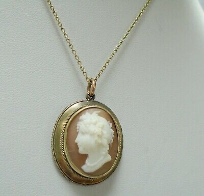 Superb antique Victorian gilded silver & carved shell cameo pendant + chain