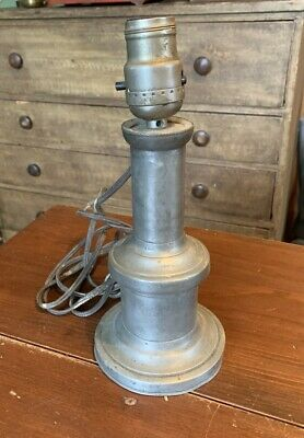 Antique 19th Century Early American Pewter Lamp or Candlestick