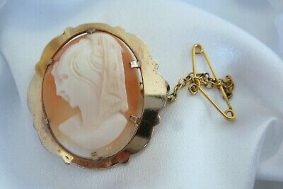 Antique Early Art Deco Period Rolled Gold Shell Cameo Brooch Pin - Hand Carved