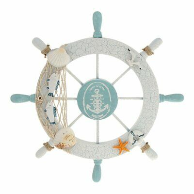 Wood Nautical Wheel Hanging Wall Decor Boat Anchor Plaque Marine  Ship Steer