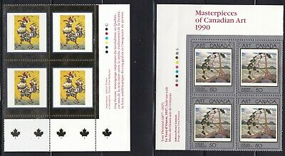 CANADA 1990 & 1999:- MASTERPIECES OF CANADIAN ART- #s1271, 1800 PLATE BLOCKS MNH