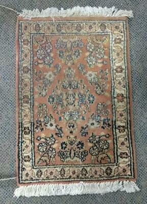 """Old Vintage Antique Persian Oriental Carpet Rug 27' by 17.5"""" Small Rectangle Art"""