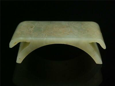 Fine Old Chinese Nephrite Spinach Green Jade Carve Brush Holder Statue bat lotus