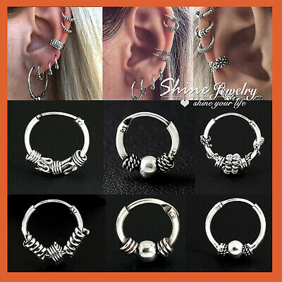 925 Sterling Silver Solid Ear Cartilage Ring Piercing Small Hoop Sleeper Earring
