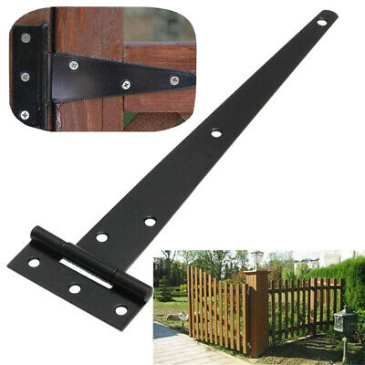 2x Iron Tee Hinges Heavy Duty Strap Cabinet Hinge Yard Garden Shed Gate Black