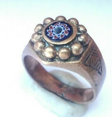 Rare Ancient Solid Ring Roman BRONZE  Stunning Artifact  vintage with stone
