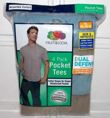 NEW- Fruit of the Loom Men's 4-Pack Crewneck Pocket Tee T-Shirts Shirts Size XL