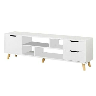 White TV Stand Unit Cabinet w/ 2 Drawers Entertainment Media Console Furniture