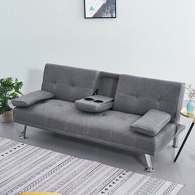 Luxury 3 Seater Click Clack Faux Leather Fabric Sofa Bed & Drink Holder Recliner