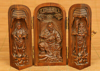 Rare Chinese old boxwood hand carved Guangong statue netsuke box decoration gift