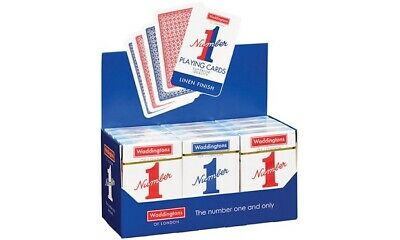 2x Waddington No.1 Playing Cards Quality RED & BLUE Classic Linen Finish Pack