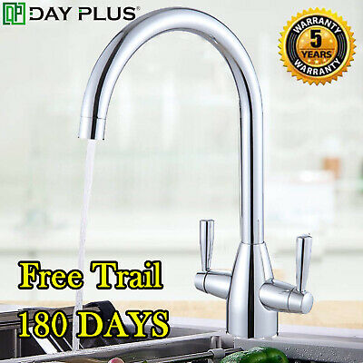 Twin Lever Traditional Brass Kitchen Sink Mixer Taps Chrome Mono Tap Solid Brass