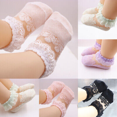 0-5Y Baby Girls Kids Princesses Socks Cotton Lace Breathable Frilly Ankle Sock