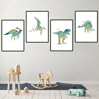4pcs Dinosaur Animal Canvas Painting Watercolor Wall Poster Print Modern Decor