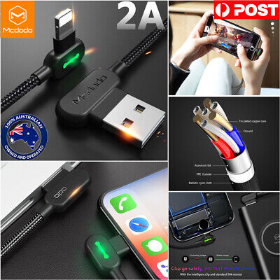 MCDODO Elbow Lightning Cable For iPhone Xs XR 8 7 6s Plus IPad USB Charging Cord