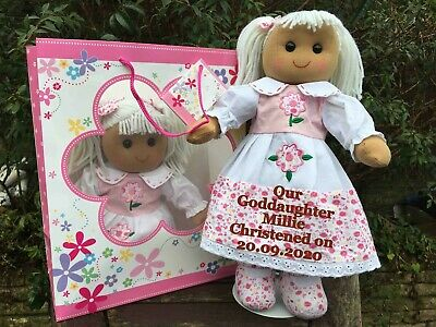 Personalised Rag Doll Goddaughter Granddaughter Christening Niece gift bag
