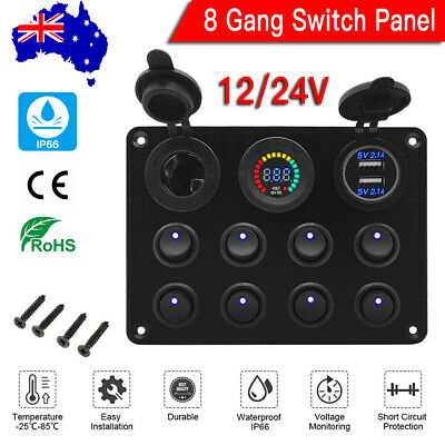 8 Gang 12/24V Dual USB Switch Panel With Voltmeter For Car RV Boat Marine Truck