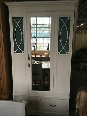 Edwardian painted linen press, vintage shabby chic, mirrored door, glazed panels