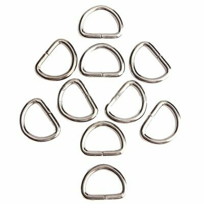 2X(10Pcs D-Rings Buckles Clips Non Welded Sport Webbing Leather Craft ,Silver 2Y
