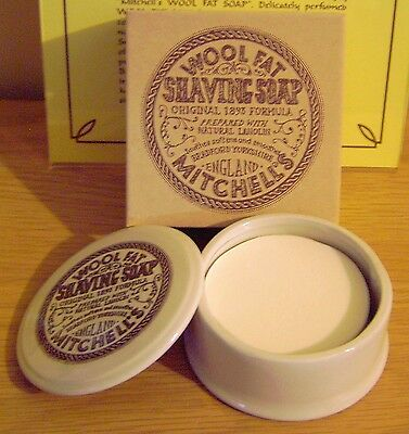 Mitchells Wool Fat Shaving Soap 125g & Ceramic Dish
