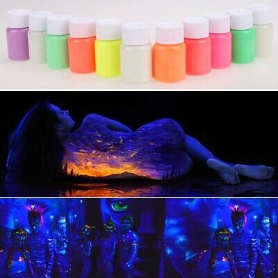 Multicolor Glow in the Dark Acrylic Luminous Paint Bright Pigment Party Decor