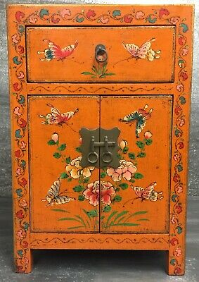Vintage Chinese Lacquered End Table Cabinet