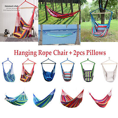 Portable Hammock Hanging Rope Chair Swing Chair Seat with 2 Pillows Garden Deck