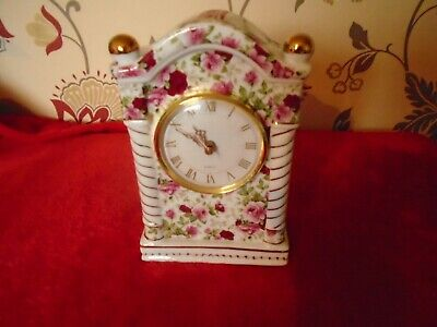 A Stunning Old Country Roses Inspired ***Chintz Mantle Clock ***Vgc.***