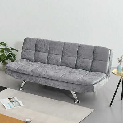 3 Seater Padded Seat Sofa Bed Recliner with Charcoal Chrome Legs Living Room UK