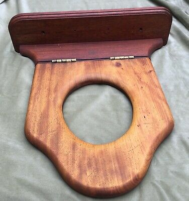 Antique Victorian Wooden Mahogany Toilet Seat