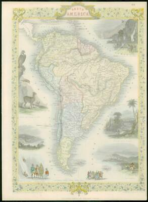 "1850 - RARE Original Antique Map ""SOUTH AMERICA"" by TALLIS FULL COLOUR (41)"