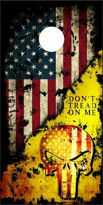 Grunge Don/'t Tread On Me Flag Cornhole Board Decal Wrap FREE SQUEEGEE