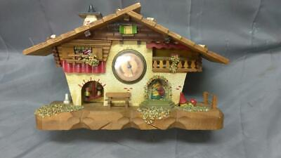 Old Vintage Wood Wind Up Clock in Swiss Wood Wooden House Chalet Home Carving