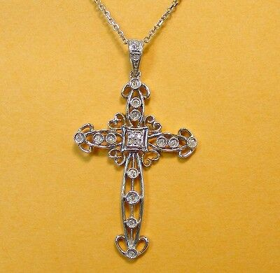 VINTAGE ORNATE 14kt WHITE GOLD 1/4cttw DIAMOND PIERCED FILIGREE CROSS NECKLACE