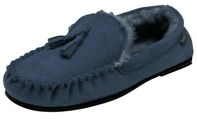 Mens British Designed Navy Faux Suede Moccasin Warm Soft Faux Fur Lined Slippers