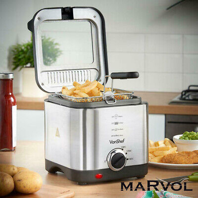 Small Compact Deep Fat Fryer Chip 1.5L Stainless Steel Non Stick Pan Electric UK