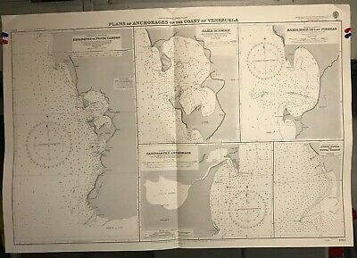 Venezuela Anchorages North Coast Navigational Chart / Hydrographic Map # 1963