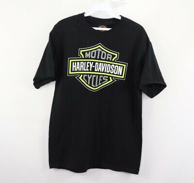 Harley Davidson Motorcycles Mens Medium Big Logo Spell Out Short Sleeve Shirt