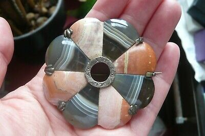 Victorian Scottish Pebble Agate and Silver Brooch