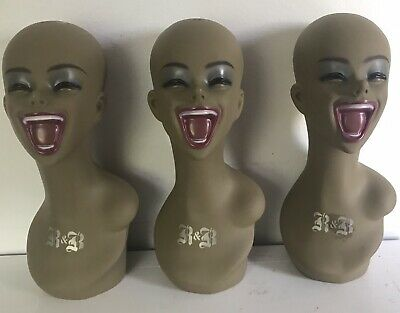 3 Laughing Rubberized Mannequin Heads for Wig Hat Display 18""