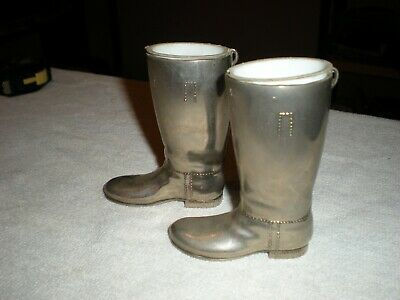 Pair Of Vintage/Antique Silver Plated Drinks Measure Hunting Riding Boots 3.6""