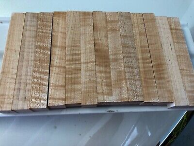 Beautiful CURLY MAPLE Pen Blanks, Lot of 13 blanks, great figure, Nice!
