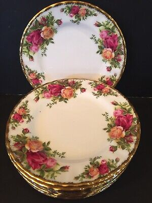 """Old Country Roses - Royal Albert - Bread & Butter Plates 6 1/4"""" - Set Of 10"""