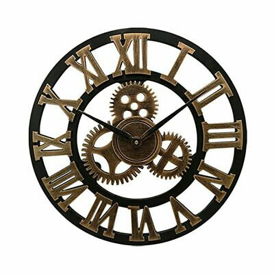 16 inch Big Size Rustic Wall Clock with Gear Decorative Vintage Clock wi T3D0