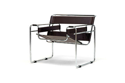 Wassily Style Leather Strap Chair Dark Espresso Brown Chromed Steel Frame