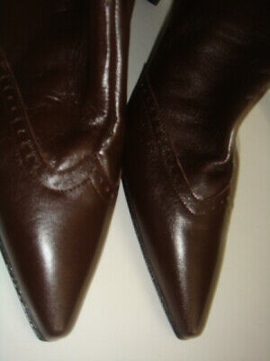 NEW Laura Ashley Dark Brown Mid Calf Leather Boots Size 7
