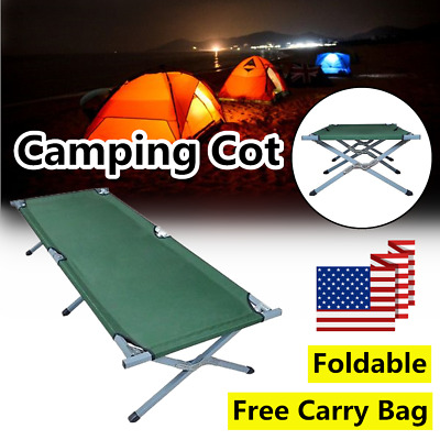 H3E# Portable Folding Camping Cot with Carrying Bags Outdoor Travel Hiking Bed